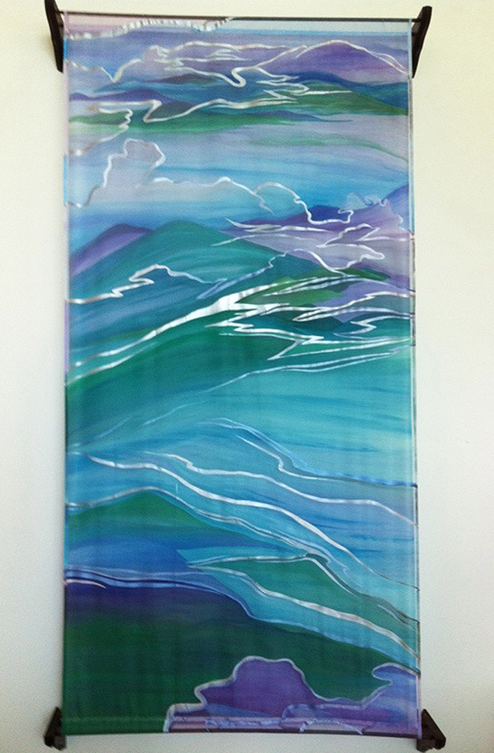 """Island Clouds"" Hand painted silk habutae under hand painted silk organza"